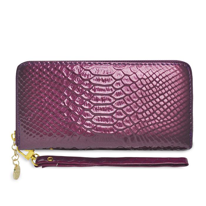 Dennibella 丹妮貝拉 -皮夾/長夾 閃亮亮鱷魚紋漆皮手拿包 - 糖果紫