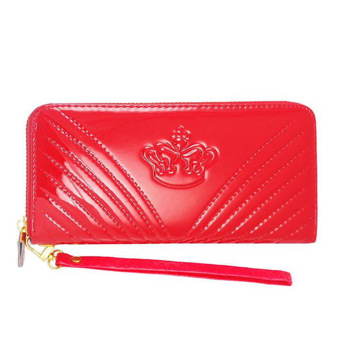 Dennibella 丹妮貝拉 - 皮夾/長夾 可愛時尚 皇冠露珠漆皮手拿帶- 糖果紅