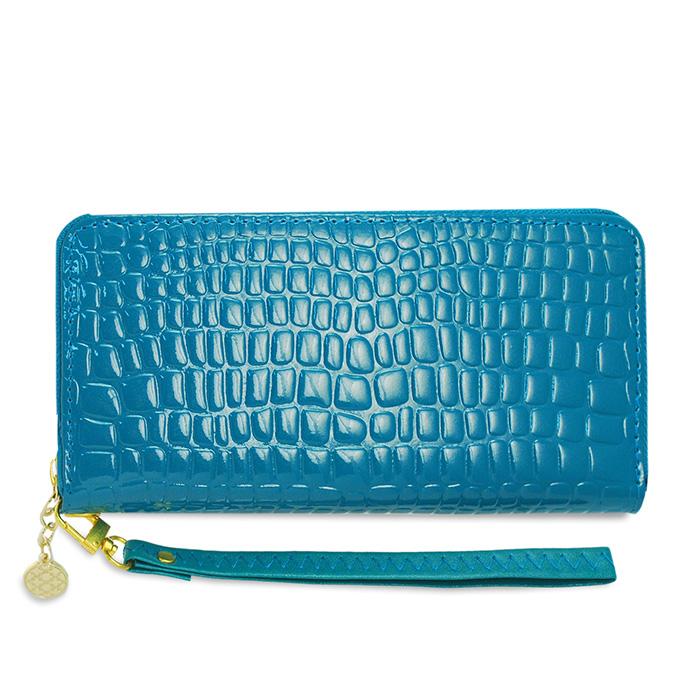 Dennibella 丹妮貝拉 - 皮夾/長夾 簡約時尚石頭紋漆皮手拿帶- 糖果藍