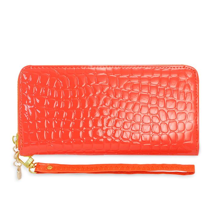 Dennibella 丹妮貝拉 - 皮夾/長夾 簡約時尚石頭紋漆皮手拿帶- 糖果橘