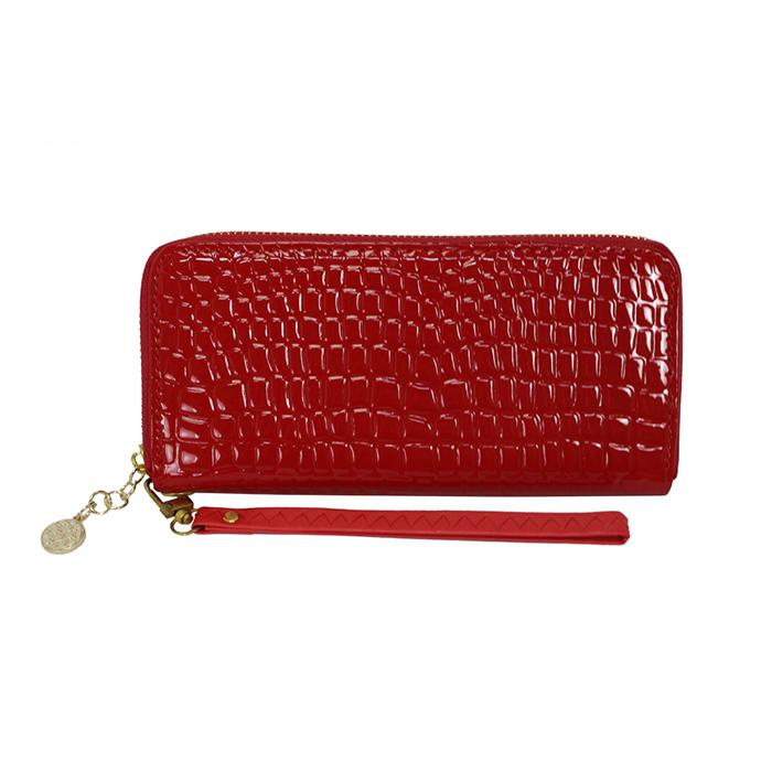 Dennibella 丹妮貝拉 - 皮夾/長夾 簡約時尚石頭紋漆皮手拿帶- 糖果紅