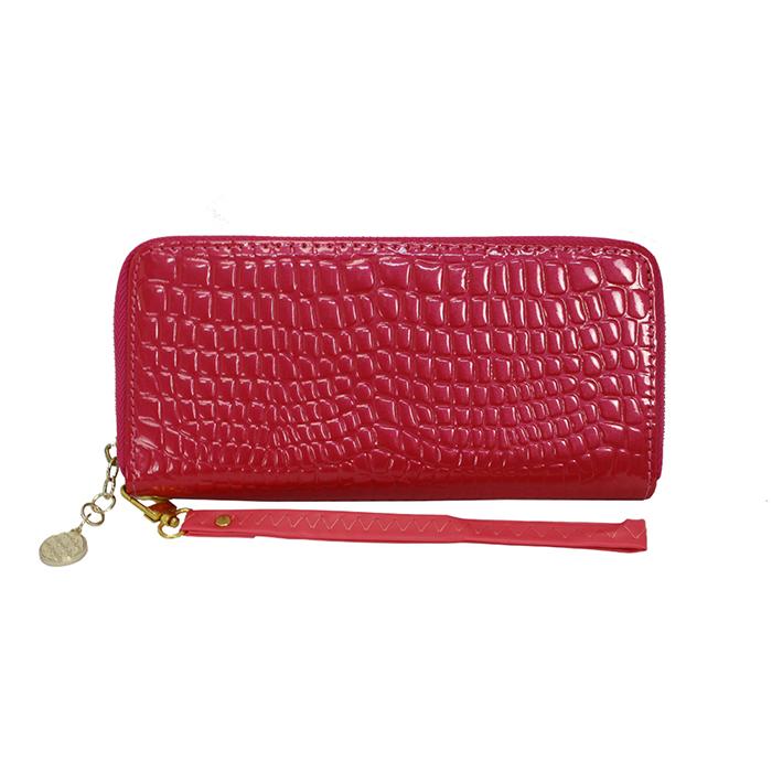 Dennibella 丹妮貝拉 - 皮夾/長夾 簡約時尚石頭紋漆皮手拿帶- 糖果桃紅