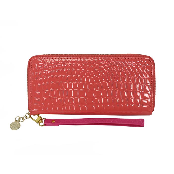 Dennibella 丹妮貝拉 - 皮夾/長夾 簡約時尚石頭紋漆皮手拿帶- 糖果粉紅