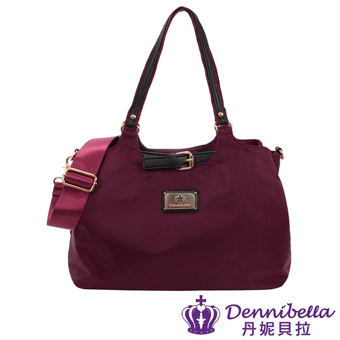 Dennibella 丹妮貝拉 -皮帶扣系列-斜背防潑水波士頓包-酒紅