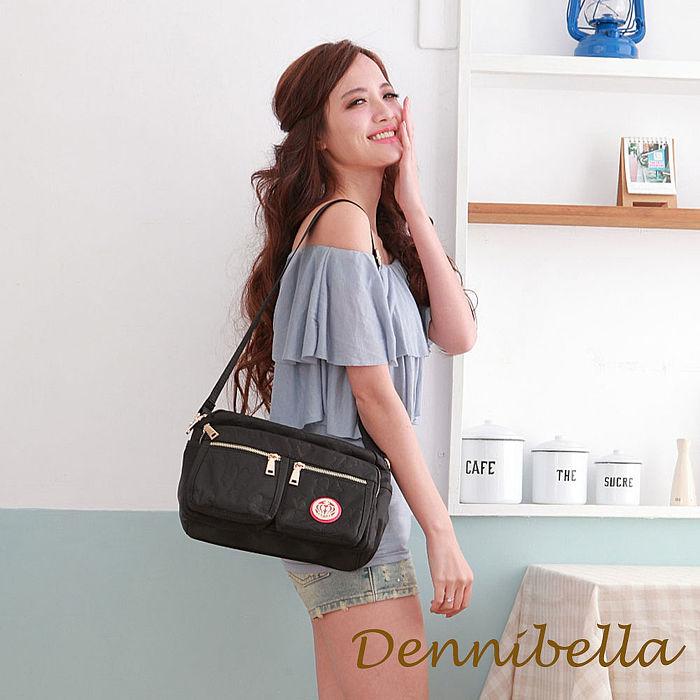 Dennibella 丹妮貝拉 -四葉幸運草系列-防潑水雙口袋斜背包-黑