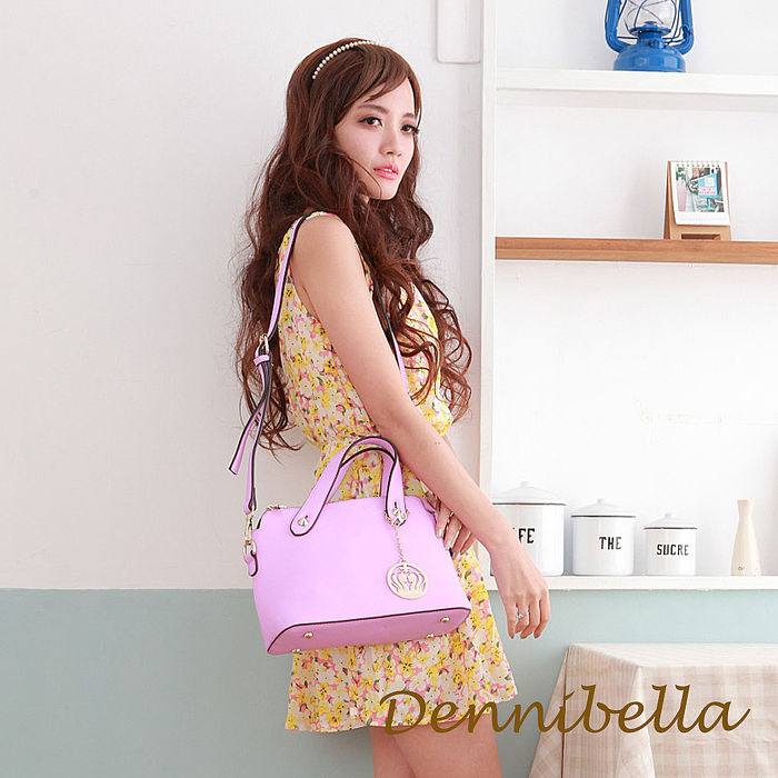 Dennibella 丹妮貝拉 -真皮斜背波士頓包-紫