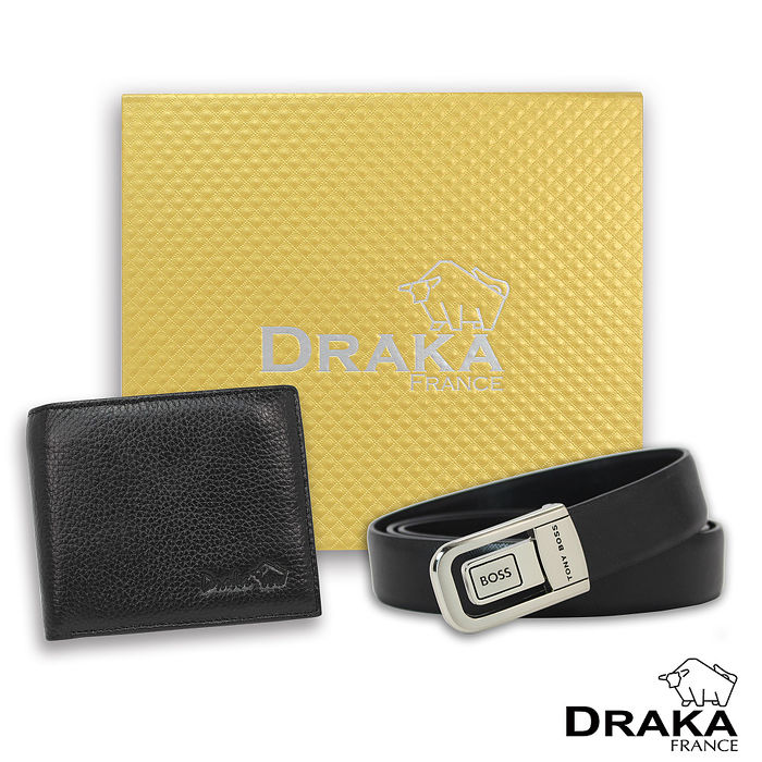 DRAKA 達卡 - 黃金禮盒 真皮皮夾+紳士皮帶-32043059-40吋