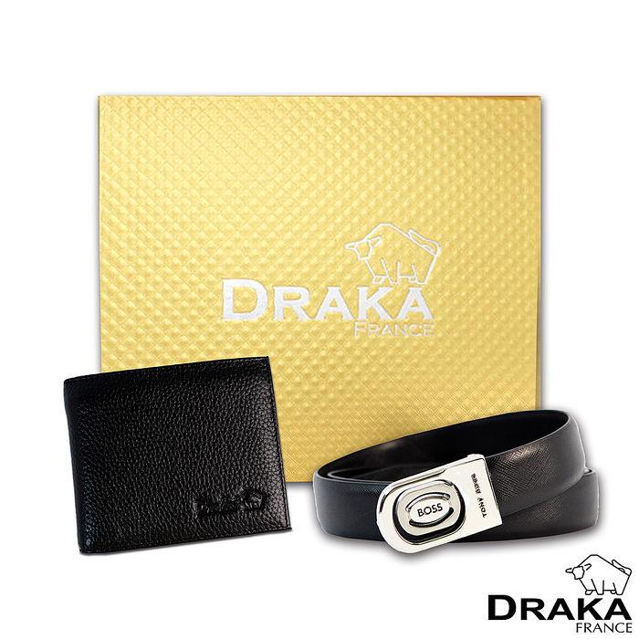 DRAKA 達卡 - 黃金禮盒 真皮皮夾+紳士皮帶-32063039-40吋