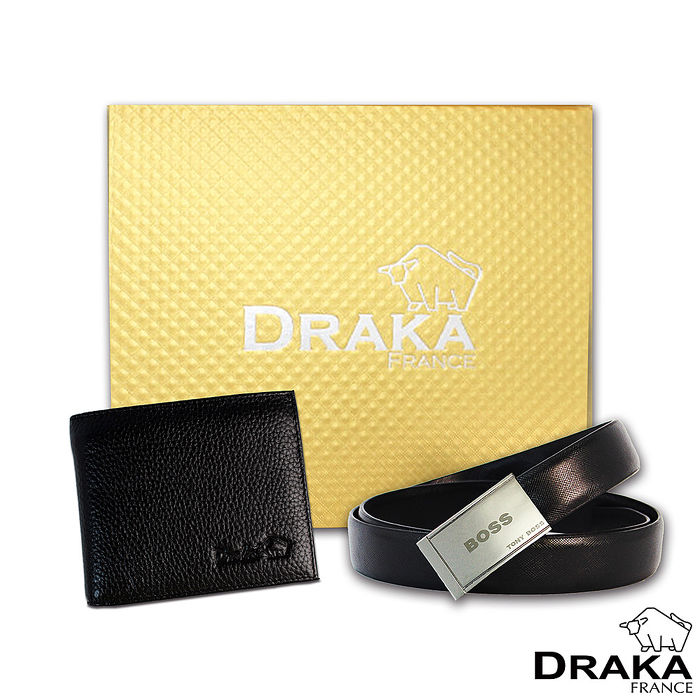 DRAKA 達卡 - 黃金禮盒 真皮皮夾+紳士皮帶-32073009-44吋