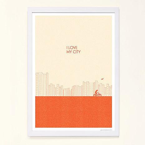 特賣↘【摩達客】西班牙知名插畫家Judy Kaufmann藝術創作海報掛畫裝飾畫-我愛我的城市(橘紅色) (附Judy本人簽名/含木框)