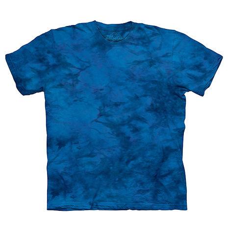 【摩達客】(預購)美國進口The Mountain純棉 深線藍 環保藝術波紋底紮染T恤