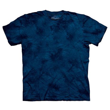 【摩達客】(預購)美國進口The Mountain純棉 靛青藍 環保藝術波紋底紮染T恤