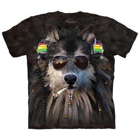 【摩達客】(預購)美國進口The Mountain 抽菸拉斯塔狼 純棉環保短袖T恤