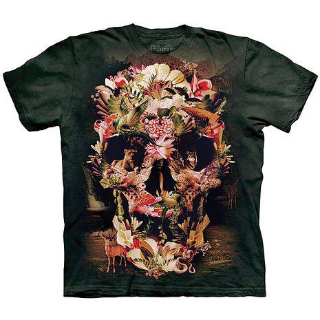 【摩達客】(預購)美國進口The Mountain 叢林花骷髏 純棉環保短袖T恤青少年Y-M