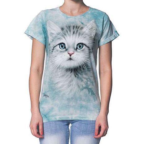 【摩達客】(預購)美國進口The Mountain 藍眼小貓 短袖女長版T恤精梳棉環保染成人Adult-2XL