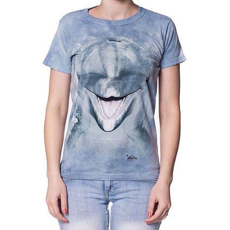 【摩達客】(預購)美國進口The Mountain 海豚臉 短袖女長版T恤精梳棉環保染成人Adult-2XL
