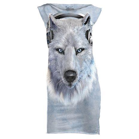 【摩達客】(預購)美國進口The Mountain DJ白狼 休閒短洋裝連身裙迷你短裙