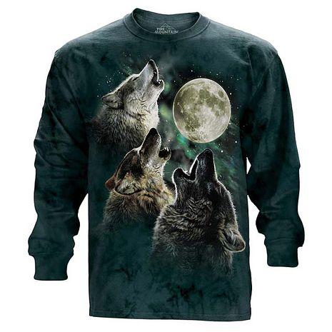 【摩達客】(預購)美國進口The Mountain 三狼嚎月 純棉長袖T恤成人Adult-3XL