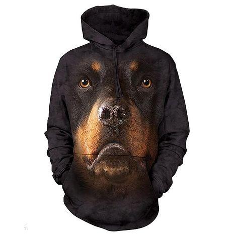 【摩達客】(預購)美國進口The Mountain 挪威納犬臉 長袖連帽T恤