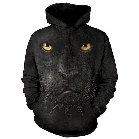 【摩達客】(預購)美國進口The Mountain 黑豹臉 長袖連帽T恤