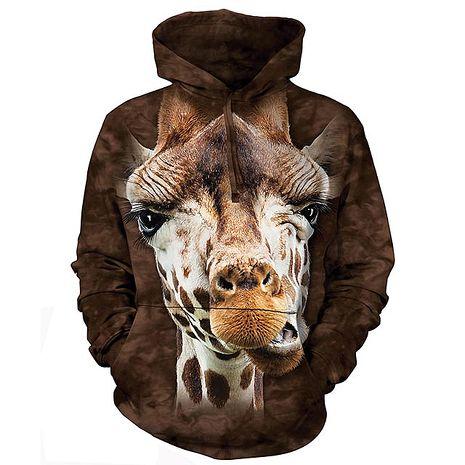 【摩達客】(預購)美國進口The Mountain 長頸鹿 長袖連帽T恤成人Adult-L