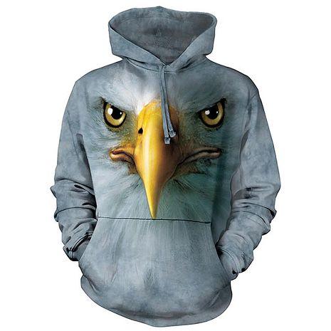 【摩達客】(預購)美國進口The Mountain 鷹臉 長袖連帽T恤成人Adult-S
