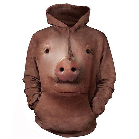 【摩達客】(預購)美國進口The Mountain 可愛豬臉 長袖連帽T恤