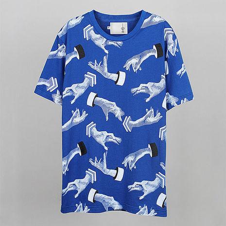 【摩達客】韓國進口EXO合作設計品牌DBSW Hand Drops手掉了藍色 純棉短T短袖T恤時尚潮T成人Adult-M