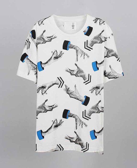 【摩達客】韓國進口EXO合作設計品牌DBSW Hand Drops手掉了白色 純棉短T短袖T恤時尚潮T成人Adult-L