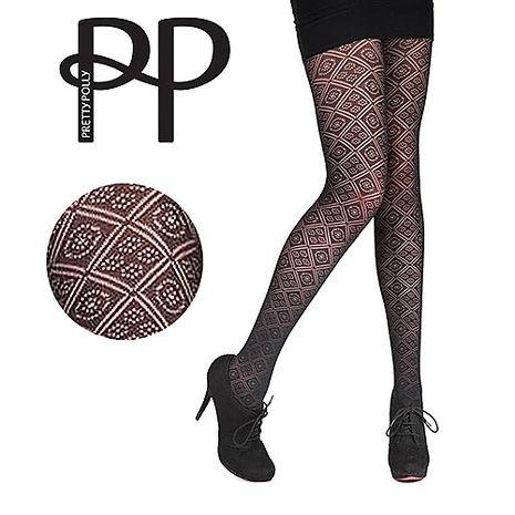 英國進口【Pretty Polly】鑽方格紋印花彈性褲襪