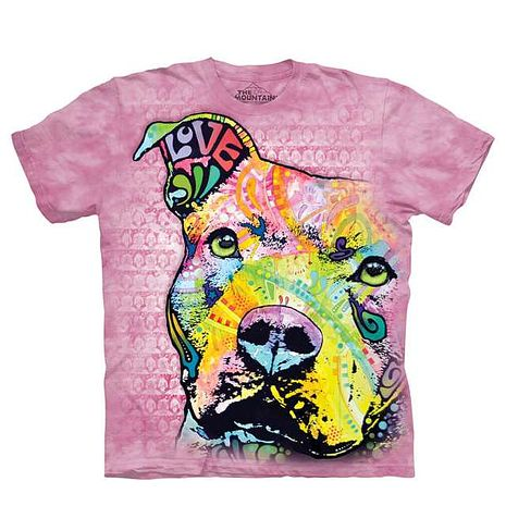 【摩達客】(預購)美國進口The Mountain 彩繪粉彩凝望比特犬 純棉環保短袖T恤-狗青少年Y-XL
