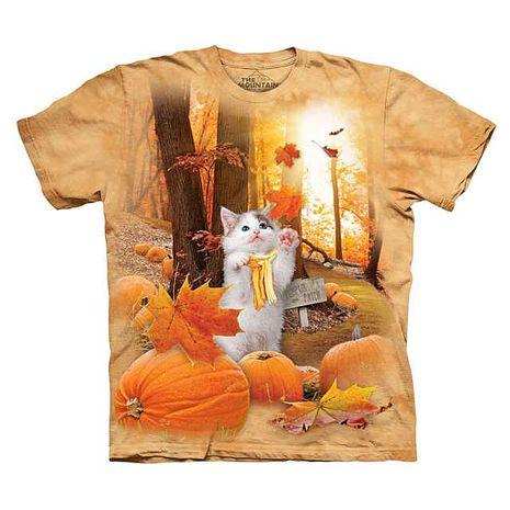 【摩達客】(預購)美國進口The Mountain 南瓜秋之貓 純棉環保短袖T恤成人Adult-L