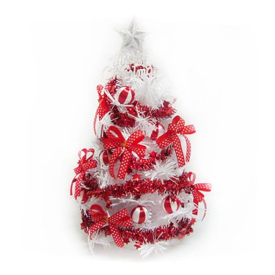 (預購3~5天出貨)台灣製迷你1呎/1尺(30cm)紅色蝴蝶結裝飾白色聖誕樹