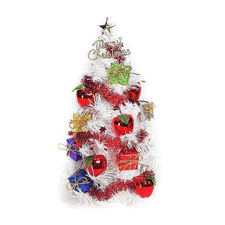 (預購3~5天出貨)台灣製迷你1呎/1尺(30cm)裝飾白色聖誕樹 (紅蘋果禮物盒系)
