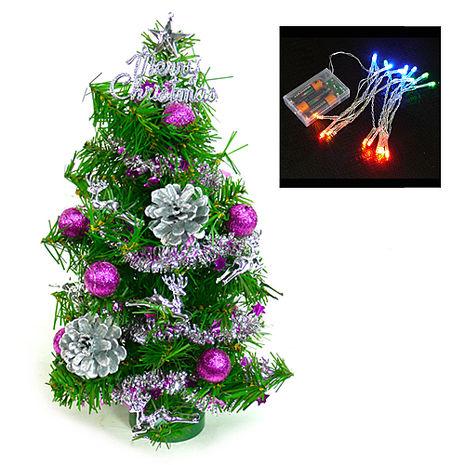 【摩達客】(預購3~5天出貨)台灣製迷你1呎/1尺(30cm)裝飾聖誕樹 (銀紫色系)+LED20燈電池燈(彩光)
