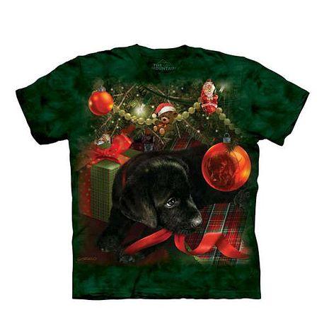 【摩達客】(預購)美國進口The Mountain 聖誕小黑狗 純棉環保短袖T恤青少年Y-L