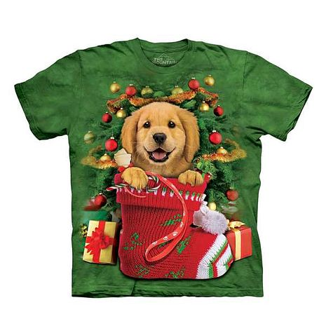【摩達客】(預購)美國進口The Mountain 聖誕小黃金獵犬 純棉環保短袖T恤