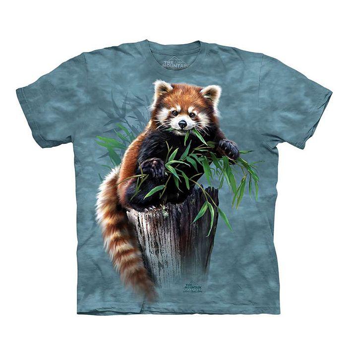 【摩達客】(預購)美國進口The Mountain 覓食小熊貓 純棉環保短袖T恤(10416045039a)Youth 兒童少年版XL (