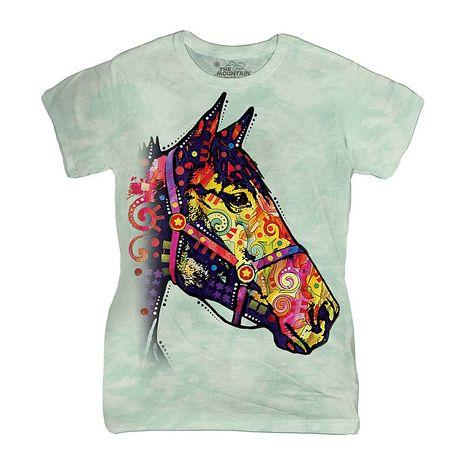 【摩達客】(預購)美國進口The Mountain 彩繪迷幻馬 短袖女版T恤精梳棉環保染(12516045019a)女版 2XL