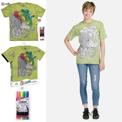 【摩達客】(預購)美國進口ColorWear  印度象之夢 DIY彩繪塗鴉 短袖T恤(附布料畫筆+衣型盒)(10416045169)