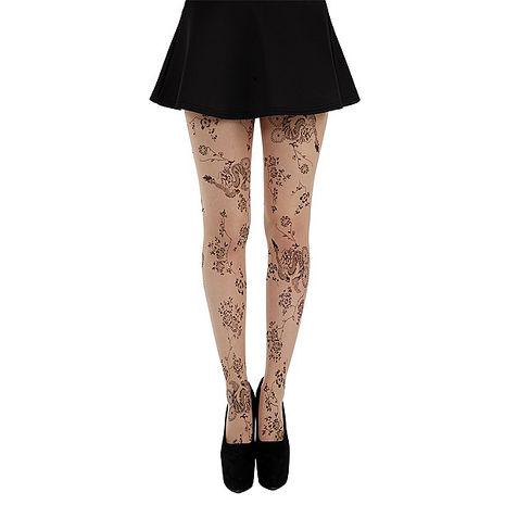 【摩達客】英國進口義大利製Pamela Mann 花草刺青藝術圖紋彈性褲襪