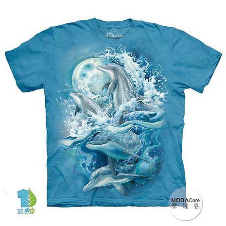 【摩達客】(預購)美國進口The Mountain 夜月海豚 純棉環保短袖T恤成人M(約台版L/XL)