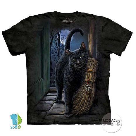 【摩達客】(預購)美國進口The Mountain 魔法掃把貓 純棉環保短袖T恤成人2XL(約台版3XL/4X