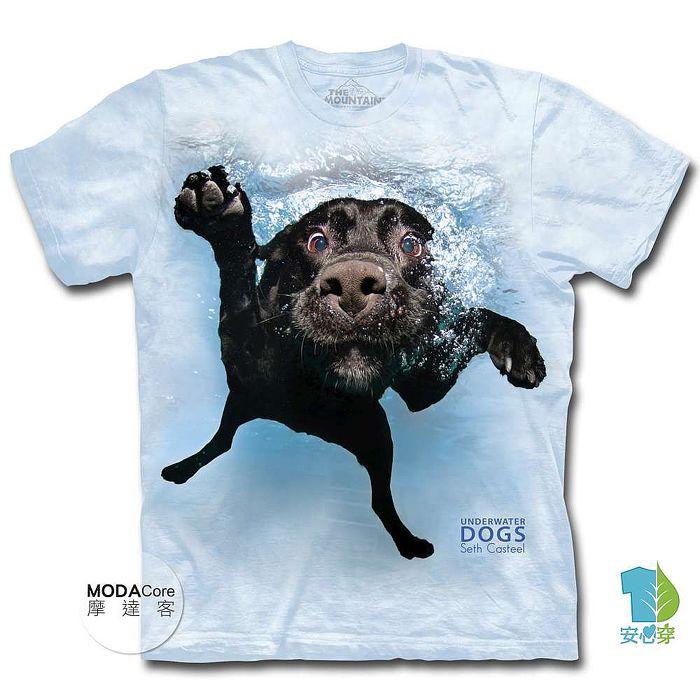 【摩達客】(預購) 美國進口The Mountain 水中拉布拉多黑狗兄 純棉環保短袖T恤-狗兒童XL