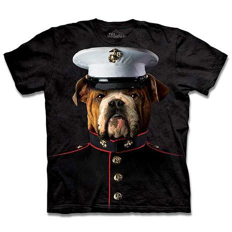 【摩達客】美國進口The Mountain 海軍牛頭犬 純棉環保短袖T恤(預購)-狗成人版 XL(=台版2XL/3