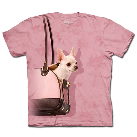 【摩達客】美國進口The Mountain 手提包吉娃娃 純棉環保短袖T恤(預購)(男/女童)兒童/少年XL (約台版S
