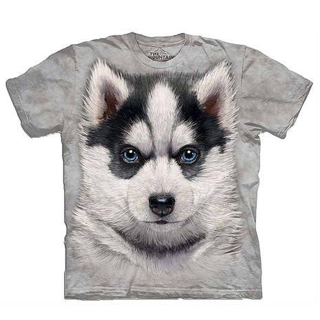 【摩達客】美國進口The Mountain 小哈士奇犬 純棉環保短袖T恤(預購)(男/女童)兒童/少年XL (約台版S