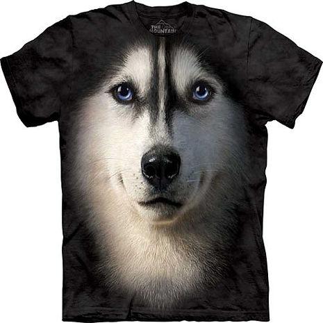 【摩達客】美國進口The Mountain 哈士奇犬臉 純棉環保短袖T恤(預購)-狗成人版 L (=台版XL/2X