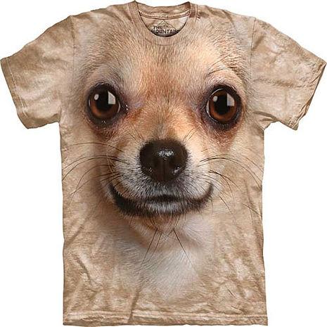 【摩達客】美國進口The Mountain 吉娃娃犬臉 純棉環保短袖T恤(預購)-狗成人版 M (=台版L/XL)