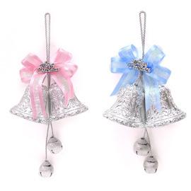 【摩達客】(預購3~5天出貨)3吋銀色雙花鐘鈴鐺串吊飾對組組合(一組兩入)